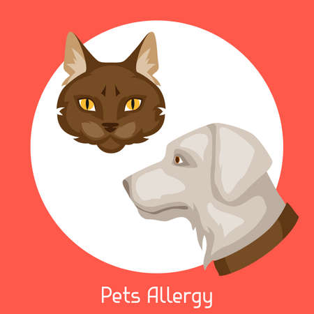 medical symbol: Pets allergy. Vector illustration for medical websites advertising medications Stock Photo