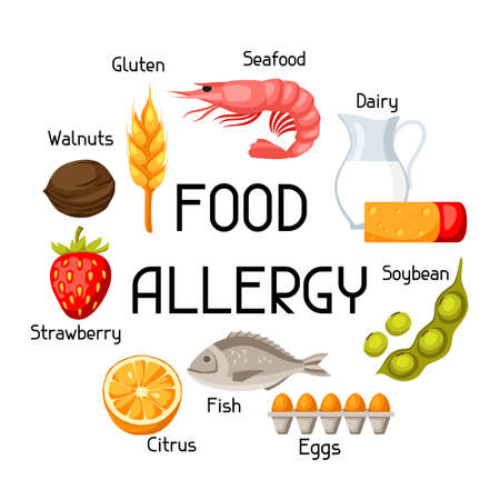 prawn: Food allergy background with allergens and symbols. Vector illustration for medical websites advertising medications