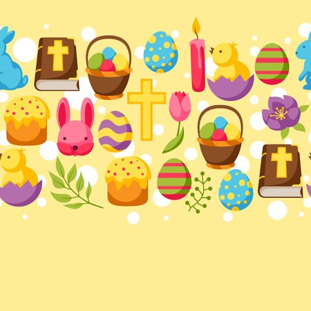 decorative objects: Happy Easter pattern with decorative objects, eggs and bunnies. Illustration