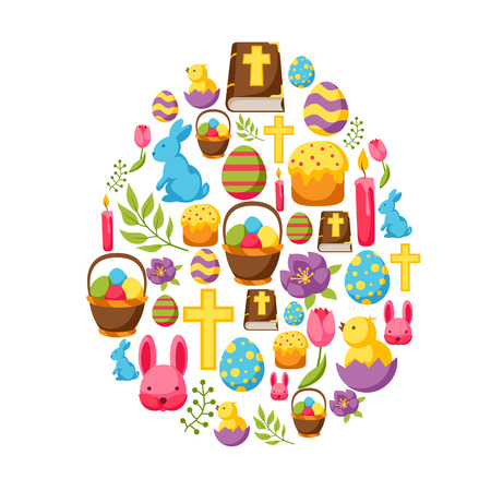 decorative objects: Happy Easter greeting card with decorative objects, eggs and bunnies. Illustration