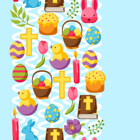 decorative objects: Happy Easter seamless pattern with decorative objects, eggs and bunnies