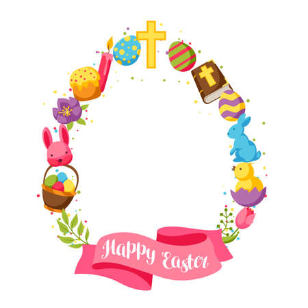 decorative objects: Happy Easter frame with decorative objects, eggs and bunnies