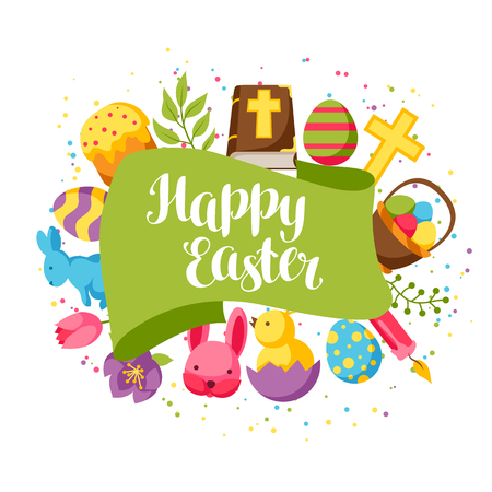 Happy Easter greeting card with decorative objects, eggs and bunnies Illustration