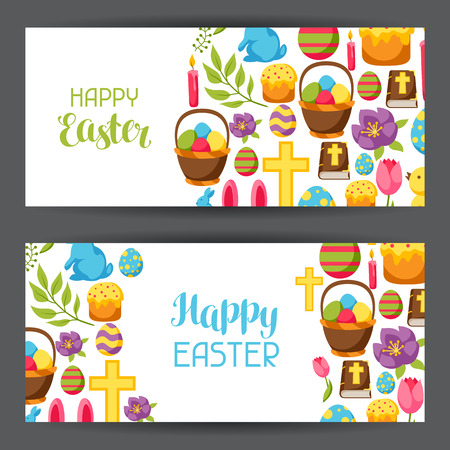 decorative objects: Happy Easter banners with decorative objects, eggs and bunnies Illustration