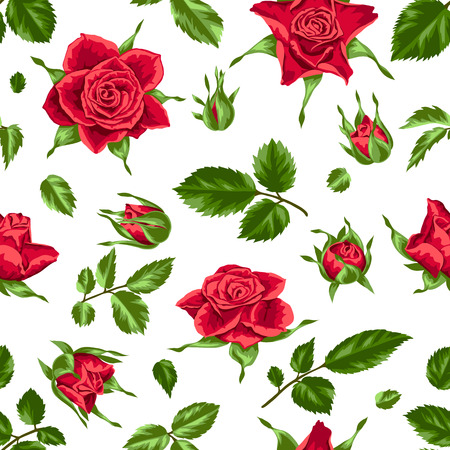 red rose bouquet: Seamless pattern red roses. Beautiful realistic flowers, buds and leaves