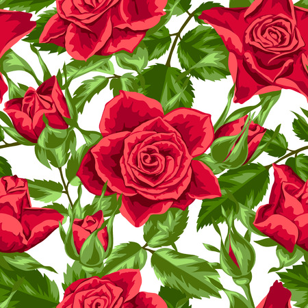 outdoor wedding: Seamless pattern with red roses. Beautiful realistic flowers, buds and leaves