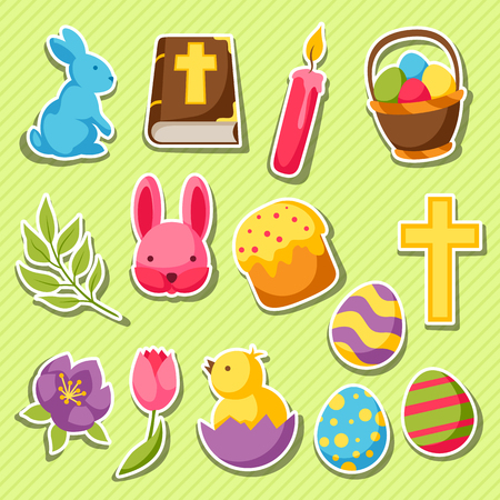 decorative objects: Happy Easter set of decorative objects, eggs and bunnies stickers