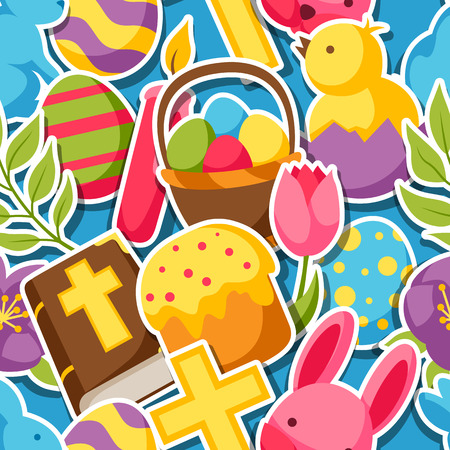 Happy Easter seamless pattern with decorative objects, eggs and bunnies stickers