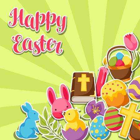 decorative objects: Happy Easter greeting card with decorative objects, eggs and bunnies stickers