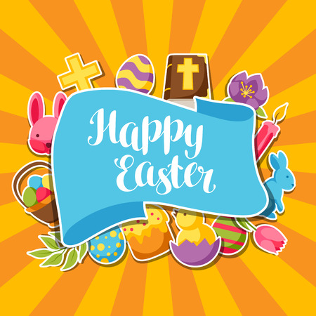 decorative objects: Artistic design of a Happy Easter greeting card with decorative objects, eggs and bunnies stickers