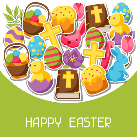 decorative objects: Elegant Happy Easter greeting card with decorative objects, eggs and bunnies stickers.