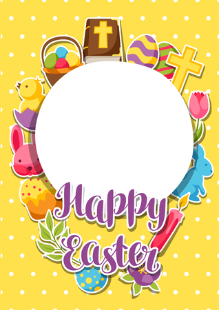 decorative objects: Yellow Happy Easter frame with decorative objects, eggs and bunnies stickers. Illustration