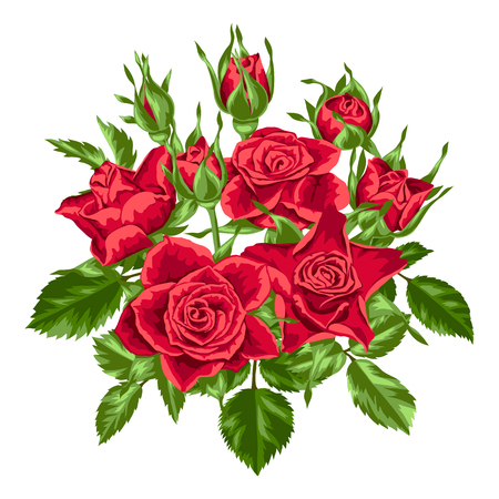 Elemento decorativo con rosas rojas. Hermosas flores, brotes y hojas realistas Ilustración de vector