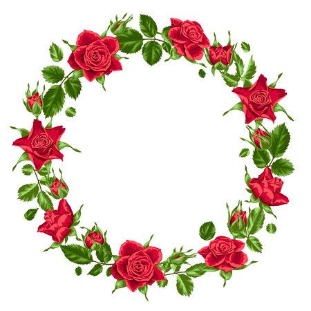 Decorative wreath with red roses. Beautiful realistic flowers, buds and leaves Illustration