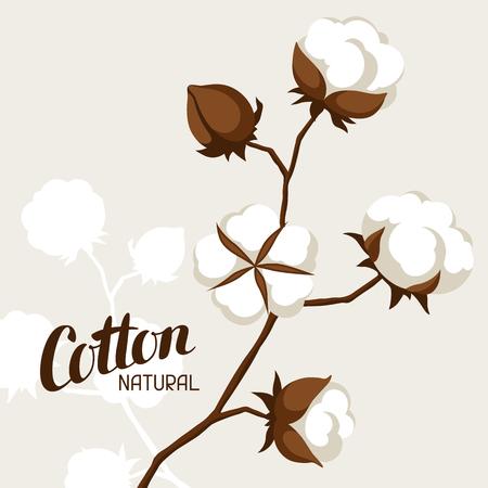 Fondo con cápsulas de algodón y ramas. Ilustración estilizada