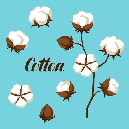 Ensemble de bourgeons de fleurs en coton, d'épingles et de branche. Vecteurs