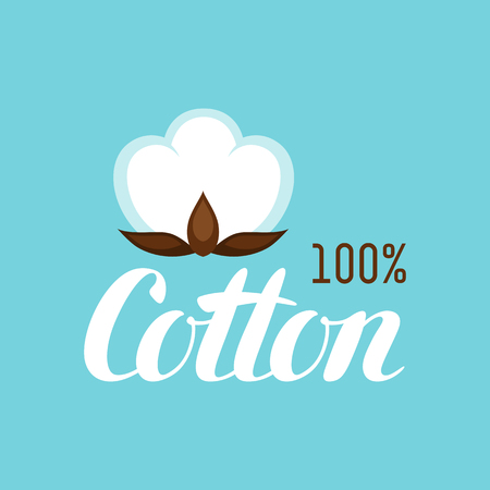 buds: Cotton label. Emblem for clothing and production Illustration