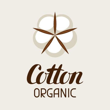 Etiqueta de algodón. Emblema para ropa y producción. Ilustración de vector
