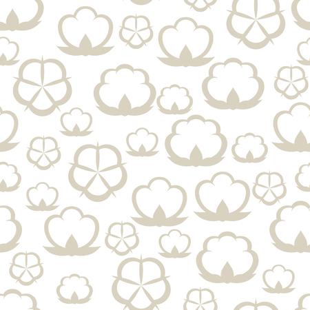 Patrones sin fisuras con cápsulas de algodón. Ilustración estilizada