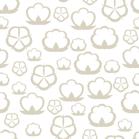 Seamless pattern with cotton bolls. Stylized illustration Illustration