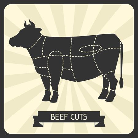 쇠고기는 자른다. 정육점 cheme 절단 고기 그림