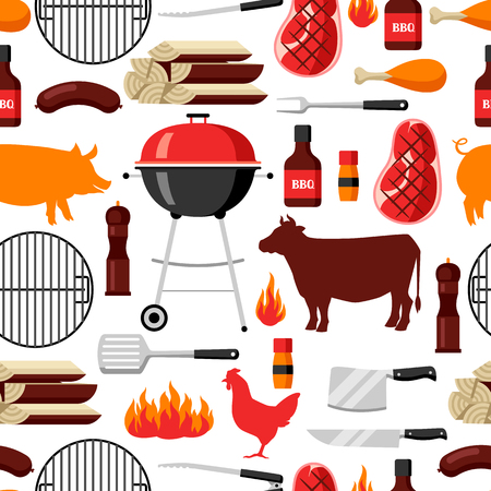 roast chicken: Bbq seamless pattern with grill objects and icons Illustration
