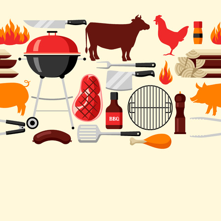 Bbq seamless pattern with grill objects and icons Illustration