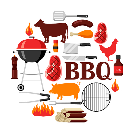 pig roast: Bbq background with grill objects and icons
