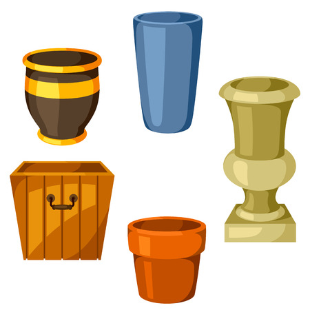 Garden pots. Set of various color flowerpots
