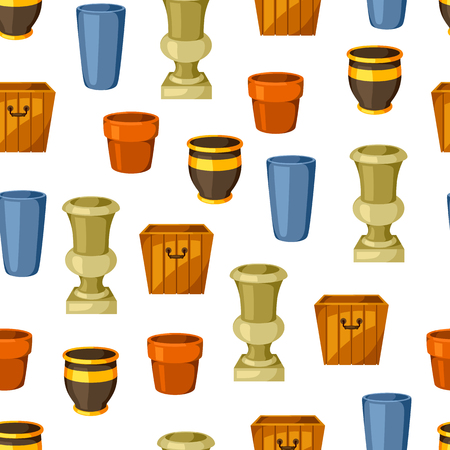 outdoor goods: Garden pots. Seamless pattern with various color flowerpots