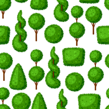 Boxwood topiary garden plants. Seamless pattern with decorative trees Illustration