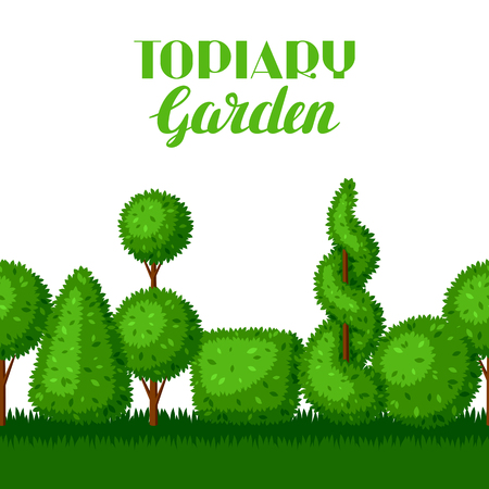 Boxwood topiary garden plants. Seamless border with decorative trees Illustration