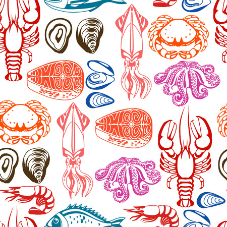 bream: Seamless pattern with various seafood. Illustration of fish, shellfish and crustaceans