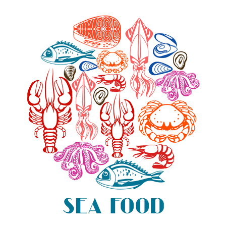 mollusc: Background with various seafood. Illustration of fish, shellfish and crustaceans
