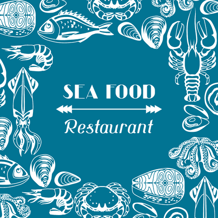 devilfish: A Background with various seafood. Illustration of fish, shellfish and crustaceans.