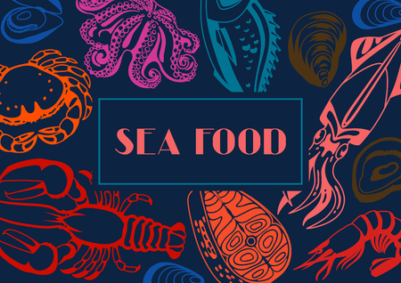 fish illustration: Background with various seafood. Illustration of fish, shellfish and crustaceans