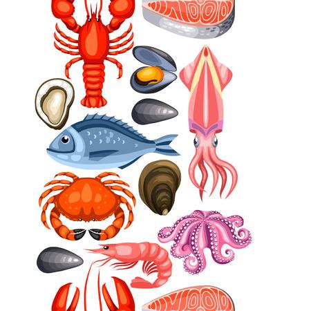 Motif sans couture avec divers fruits de mer. Illustration de poissons, crustacés et crustacés