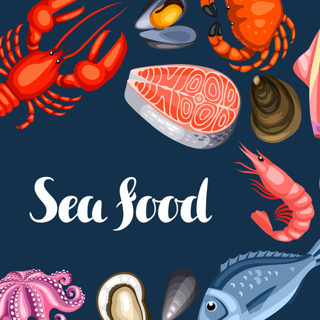 salmon steak: Background with various seafood. Illustration of fish, shellfish and crustaceans