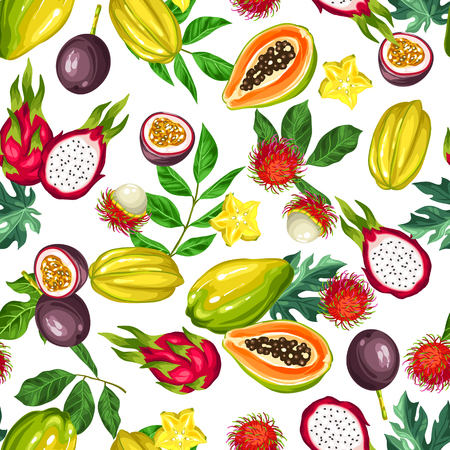 Thai dessert: Seamless pattern with exotic tropical fruits. Illustration of asian plants