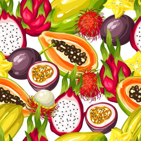 Motif sans couture avec des fruits tropicaux exotiques. Illustration des plantes asiatiques