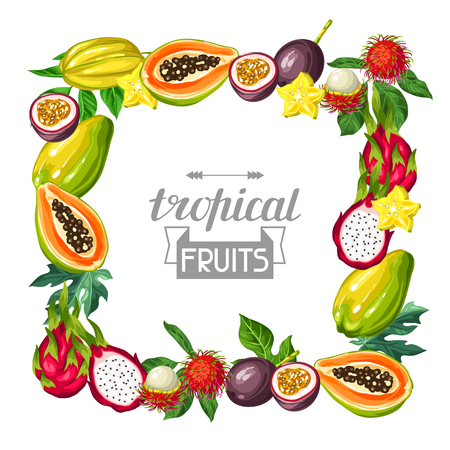 Frame with exotic tropical fruits. Illustration of asian plants Stock Vector - 75141218