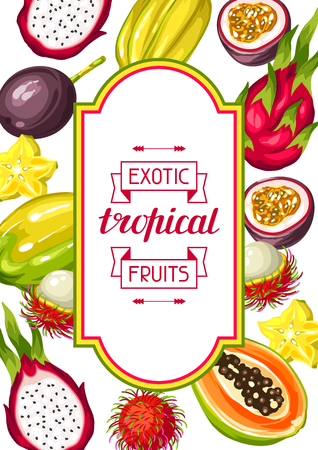 passion ecology: Frame with exotic tropical fruits. Illustration of asian plants
