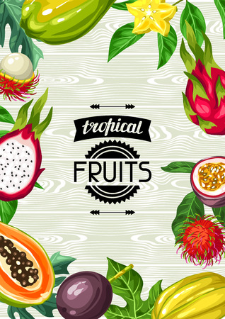 passion ecology: Background with exotic tropical fruits. Illustration of asian plants Illustration