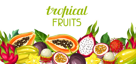 passion  ecology: Banner with exotic tropical fruits. Illustration of asian plants