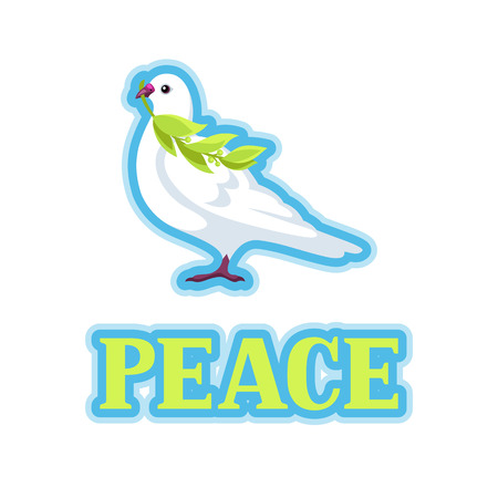 White dove of peace bears olive branch. Illustration
