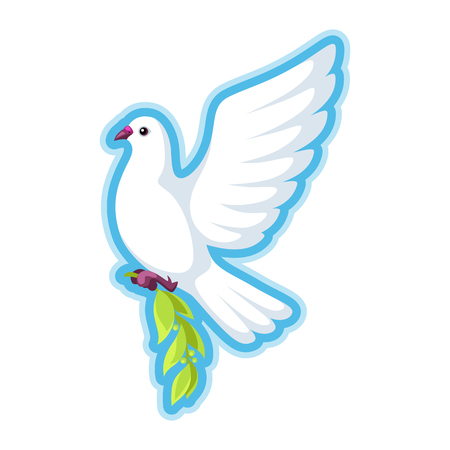 White dove of peace bears olive branch Illustration