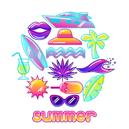 paradise beach: Background with stylized summer objects. Abstract illustration in vibrant color