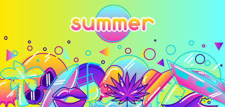 hot lips: Background with stylized summer objects. Abstract illustration in vibrant color.