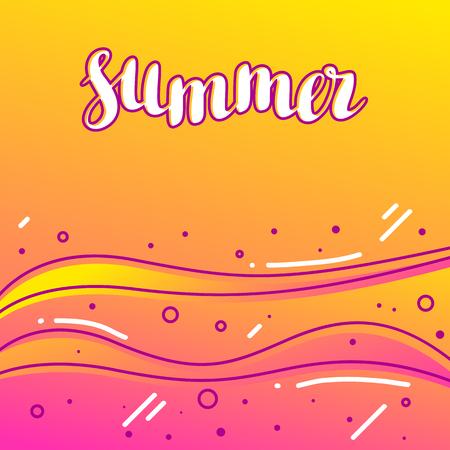 Summer on sandy beach. Stylized illustration of coastline