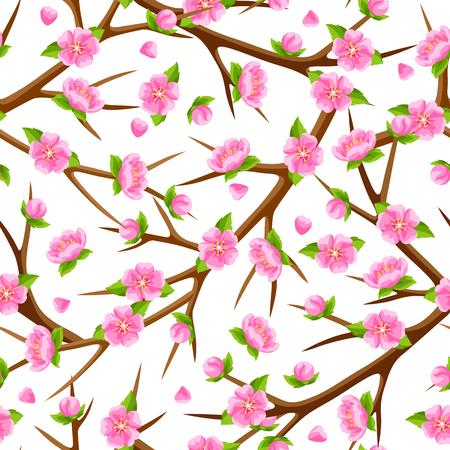 tree: Spring seamless pattern with branches of tree and sakura flowers. Seasonal illustration